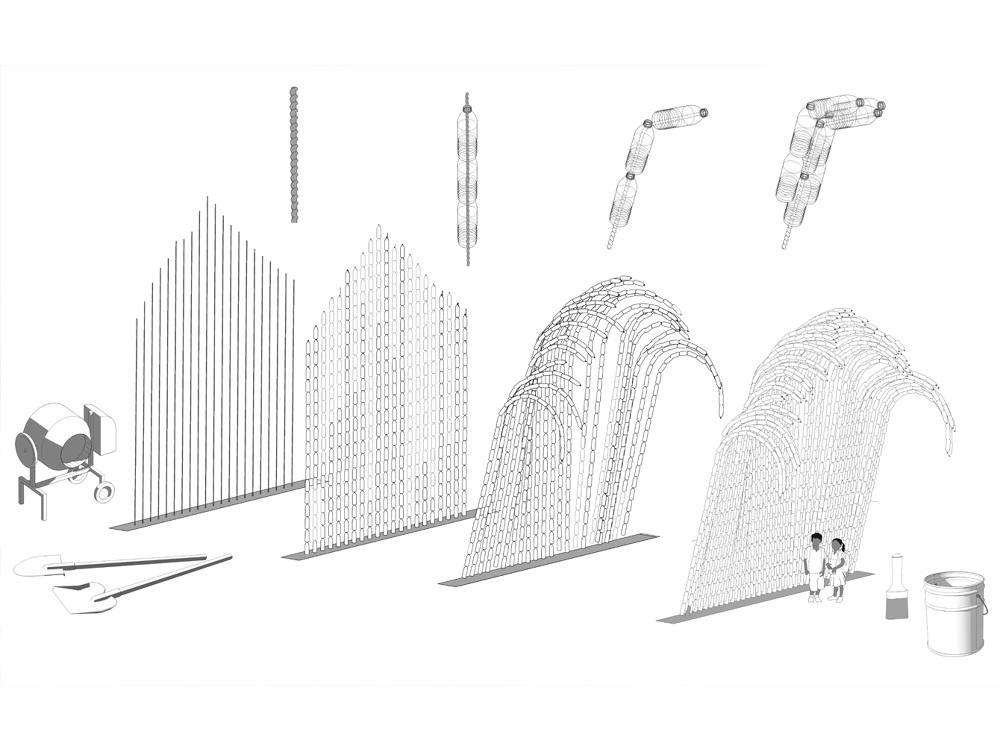 Fasada jak fala - architektura ze zrecyklingowanych butelek