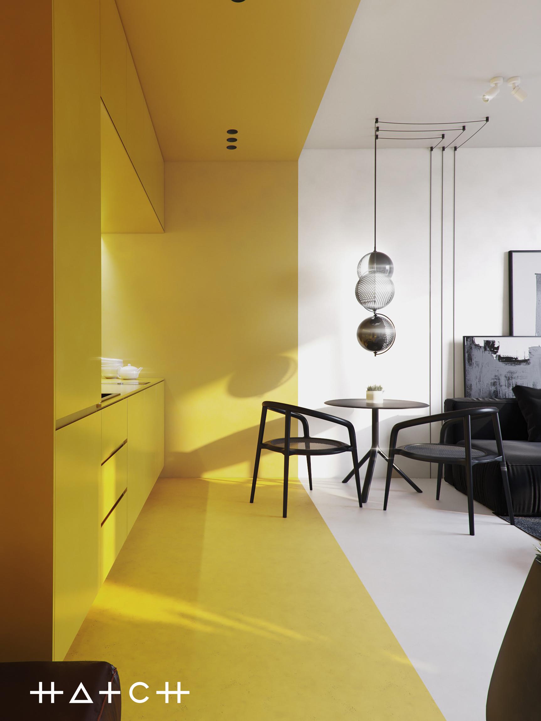 Małe przestrzenie warszawska kawalerka w odważnych kolorach