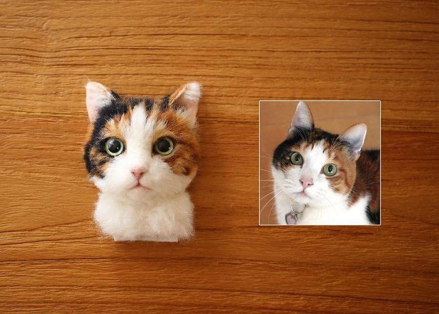 Poważnie F5 - Japońska artystka tworzy koty z filcu wełnianego, które YC84