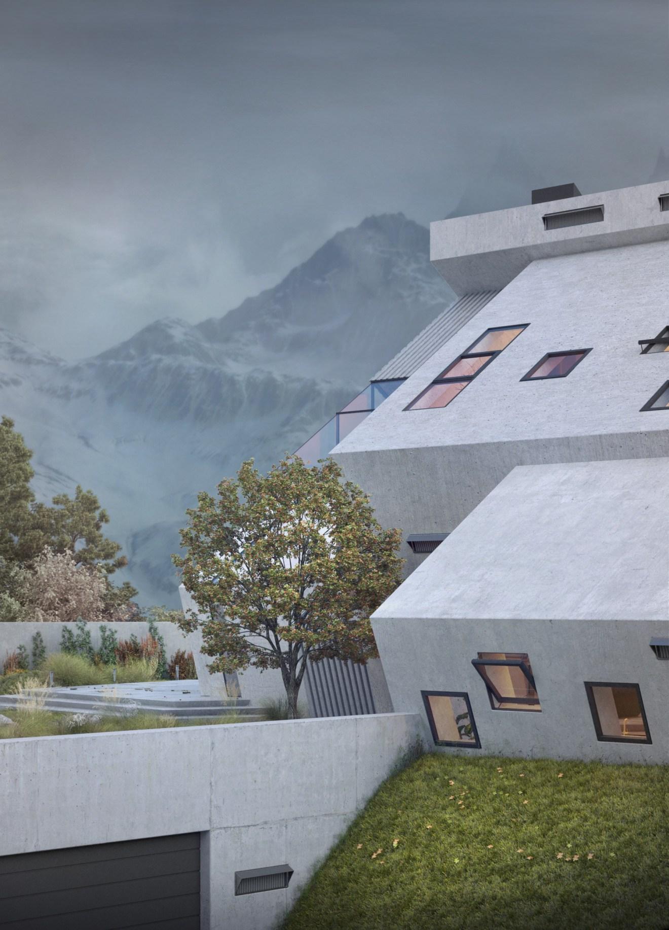 Pentahouse - dom inspirowany kształtem gór